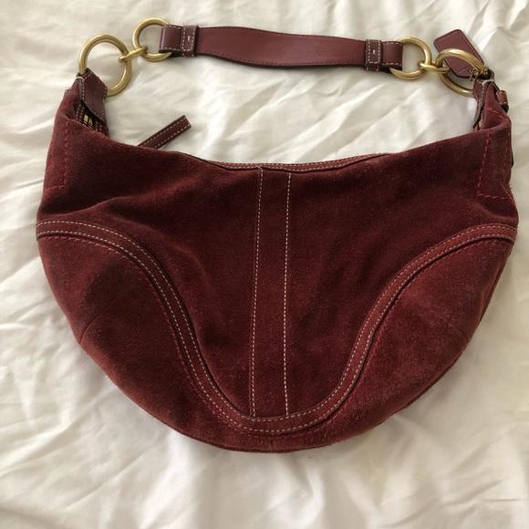 Coach Bags   Like New Burgundy Suede Leather Hobo Bag   Poshmark 9b47d9da94